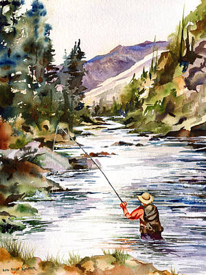 Fly Fishing In The Mountains Art Print by Beth Kantor