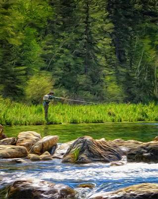 Crappie Digital Art - Fly Fishing In Spearfish Canyon by Ray Van Gundy