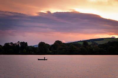 Ireland Photograph - Fly Fishing On Irish Lake At Nightfall by Bob Golden