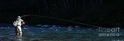 Photograph - Fly Fishing On The Umpqua River - Panorama by Chuck Flewelling