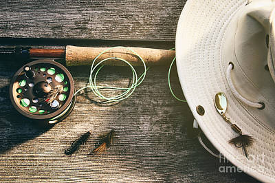 Photograph - Fly Fishing Rod With Hat On Wood by Sandra Cunningham