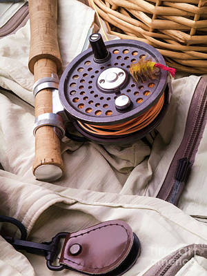 Basket Photograph - Fly Fishing Still Life by Edward Fielding