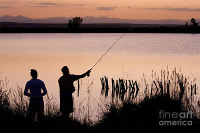 Steven Krull Royalty-Free and Rights-Managed Images - Fly Fishing with Girlfriend by Steven Krull