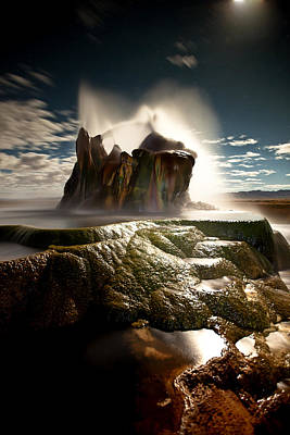 Fly Geyser @ Night Art Print by Deryk Baumgaertner