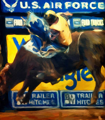Bucking Bull Painting - Fly Higher by Michael Pickett