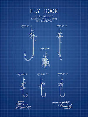 Reel Digital Art - Fly Hook Patent From 1923 - Blueprint by Aged Pixel