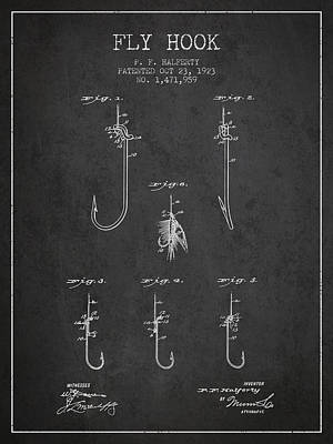 Animals Digital Art - Fly Hook Patent from 1923 - Charcoal by Aged Pixel
