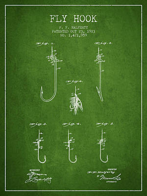 Animals Digital Art - Fly Hook Patent from 1923 - Green by Aged Pixel