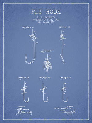 Reel Digital Art - Fly Hook Patent From 1923 - Light Blue by Aged Pixel