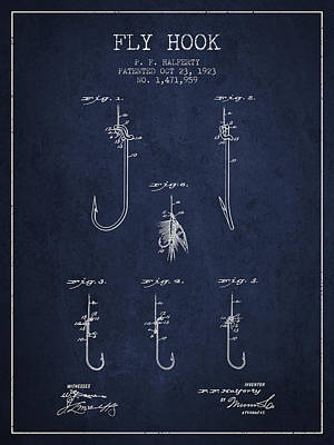 Reel Digital Art - Fly Hook Patent From 1923 - Navy Blue by Aged Pixel