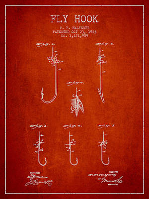 Reel Digital Art - Fly Hook Patent From 1923 - Red by Aged Pixel