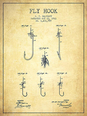 Reel Digital Art - Fly Hook Patent From 1923 - Vintage by Aged Pixel