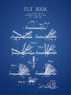 Reel Digital Art - Fly Hook Patent From 1924 - Blueprint by Aged Pixel