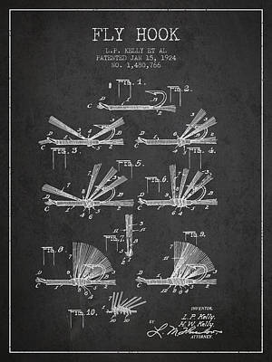 Fishing Reels Digital Art - Fly Hook Patent From 1924 - Charcoal by Aged Pixel
