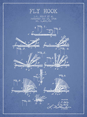 Reel Digital Art - Fly Hook Patent From 1924 - Light Blue by Aged Pixel