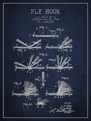 Reel Digital Art - Fly Hook Patent From 1924 - Navy Blue by Aged Pixel