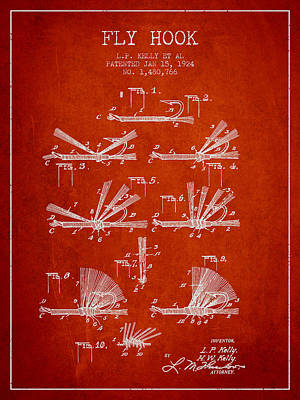 Reel Digital Art - Fly Hook Patent From 1924 - Red by Aged Pixel