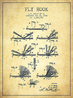 Fishing Reels Digital Art - Fly Hook Patent From 1924 - Vintage by Aged Pixel