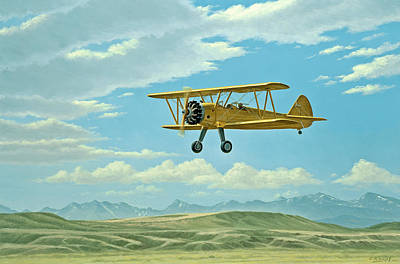 Fly-in At Three Forks - Stearman   Art Print by Paul Krapf
