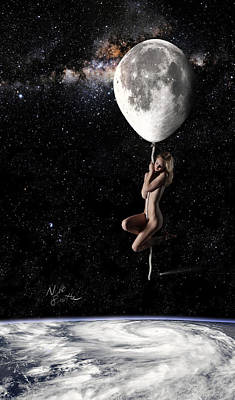 Nude Digital Art - Fly Me To The Moon - Narrow by Nikki Marie Smith