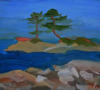 Maine Landscapes Painting - Fly Point Island by Francine Frank