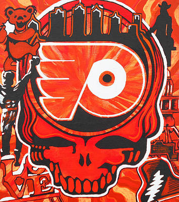 Hockey Art Painting - Flyer Love by Kevin J Cooper Artwork