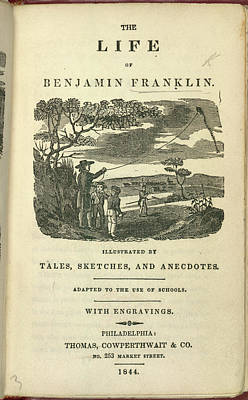 Benjamin Franklin Photograph - Flying A Kite by British Library