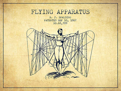 Icarus Drawing - Flying Apparatus Machine Patent From 1867 - Vintage by Aged Pixel