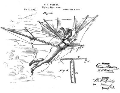 Aviator Mixed Media - Flying Apparatus Patent by Dan Sproul