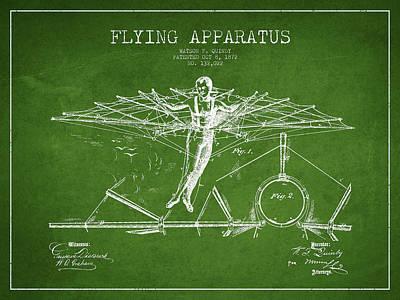 Icarus Drawing - Flying Apparatus Patent Drawing From 1872- Green by Aged Pixel