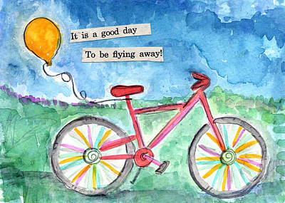 Flying Away- Bicycle And Balloon Painting Art Print by Linda Woods