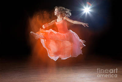 Flying Ballerina Art Print by Cindy Singleton