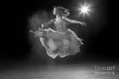 Flying Ballerina In Black And White Art Print by Cindy Singleton