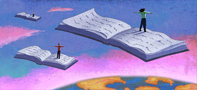Education Painting - Flying Books by Steve Dininno