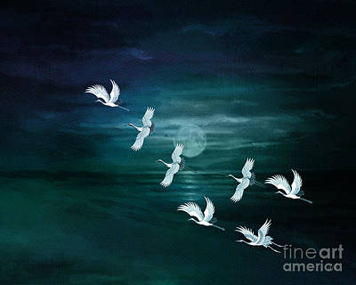 Heron Mixed Media - Flying By The Moon Bay by Bedros Awak