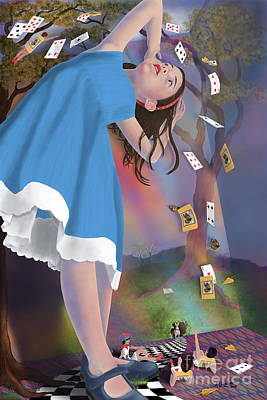Digital Art - Flying Cards Dissolve Alice's Dream by Audra D Lemke