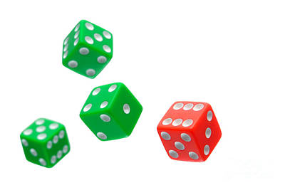 Flying Craps Dice  Art Print by Olivier Le Queinec