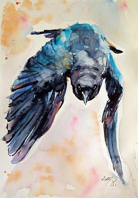 Wild Animals Painting - Flying Crow by Kovacs Anna Brigitta