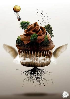 Flying Cupcake  Original by AMS  London