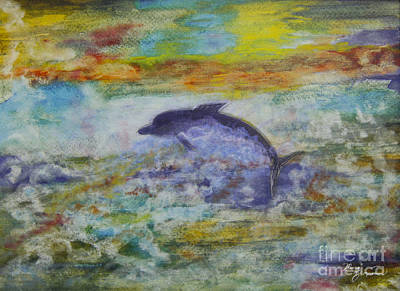 Painting - Flying Dolphin by Mary Zimmerman