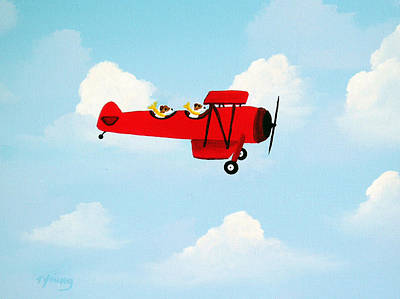 Bi-plane Painting - Flying Duo by Todd Young