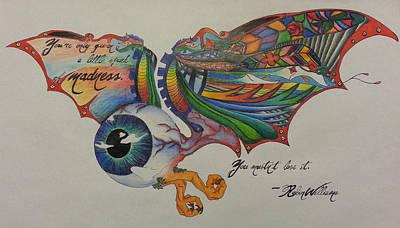 Steampunk Drawings - Flying Eyeball by Melissa Sink