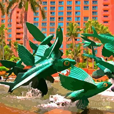 Atlantis Painting - Flying Fish At The Hotel Atlantis by John Malone