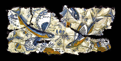 Ancient Roman Painting - Flying Fish No. 3 by Steve Bogdanoff