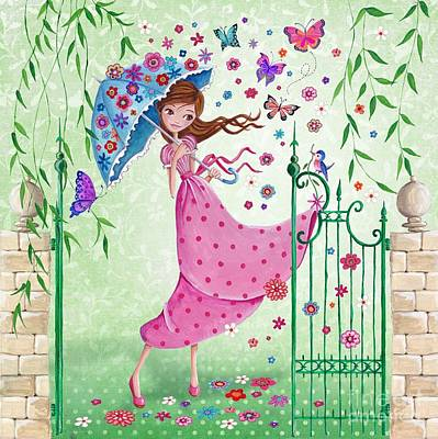 Flower Pink Fairy Child Painting - Flying Flowers by Caroline Bonne-Muller