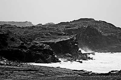 Tide Photograph - Stormy Sea In Minorca - Flying Free Black And White Edition by Pedro Cardona