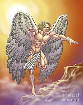 Male Nude Drawing Digital Art - Flying Gay Angel Man by Roman Hans