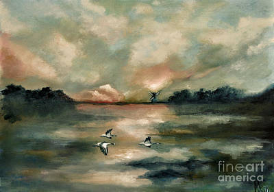 Art Print featuring the painting Flying Geese by Maja Sokolowska