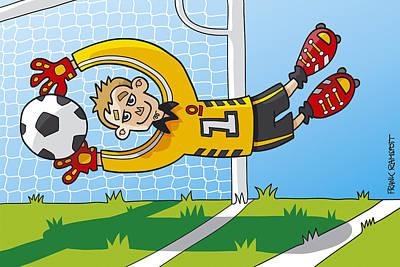 Goalkeeper Digital Art - Flying Goalkeeper Catching Ball by Frank Ramspott