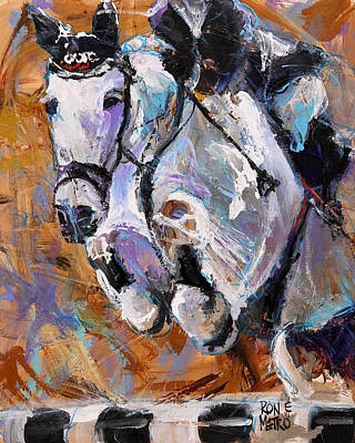 Abstract Horse Painting - Flying Gray by Ron and Metro